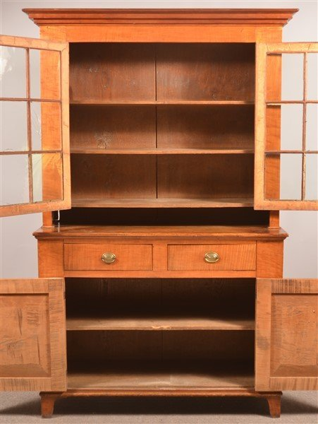 PA Federal Tiger Maple 2 Part Dutch Cupboard. - 2