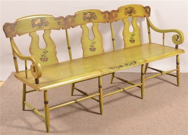 Pennsylvania 19th Cent. Boot-jack Back Settee.