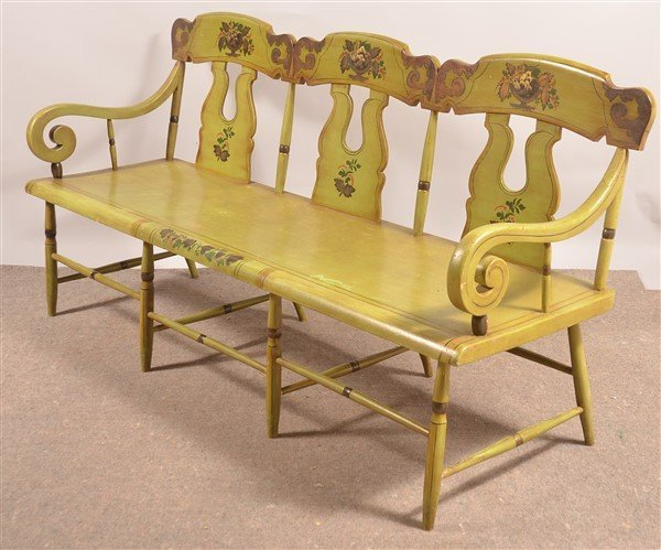Pennsylvania 19th Cent. Boot-jack Back Settee. - 4