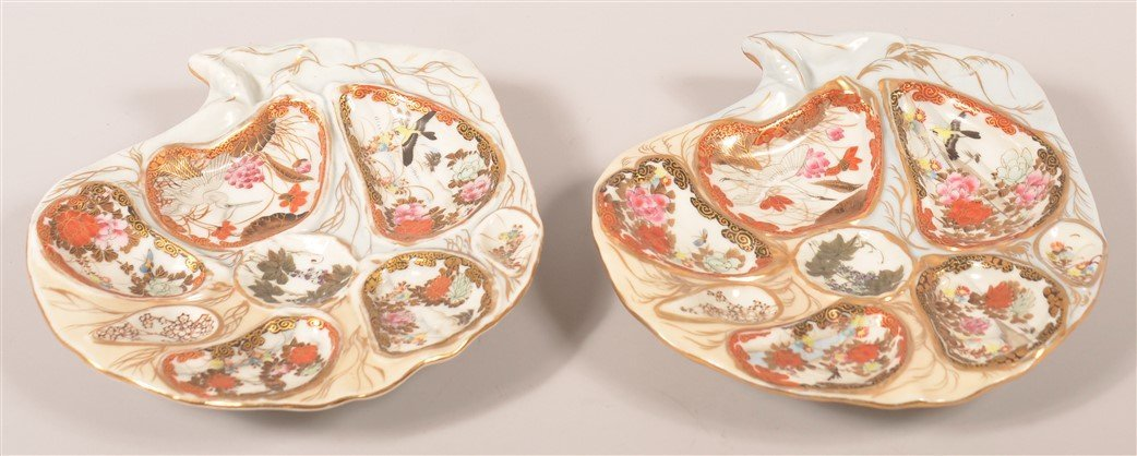Pair of Antique Oriental Porcelain Oyster Plates.