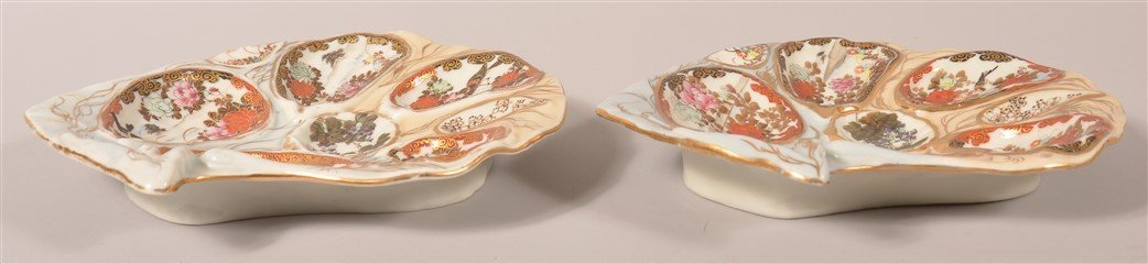 Pair of Antique Oriental Porcelain Oyster Plates. - 3