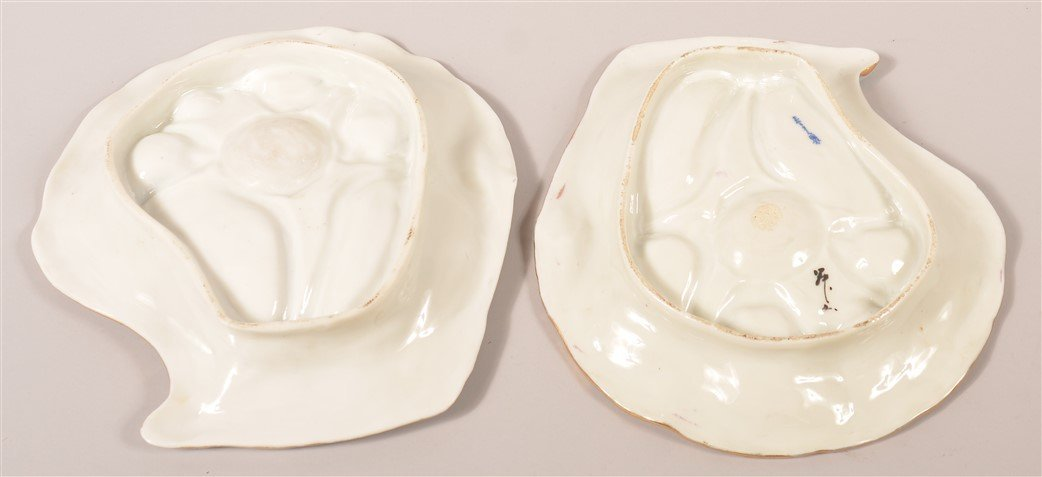 Pair of Antique Oriental Porcelain Oyster Plates. - 4