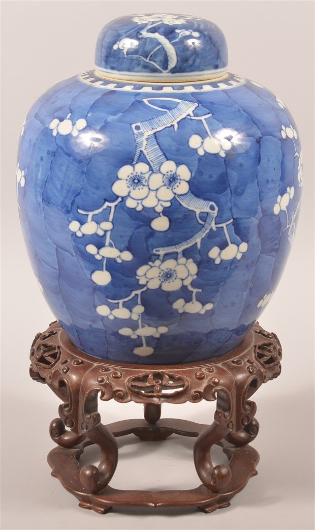 Blue & White Oriental Porcelain Covered Jar.