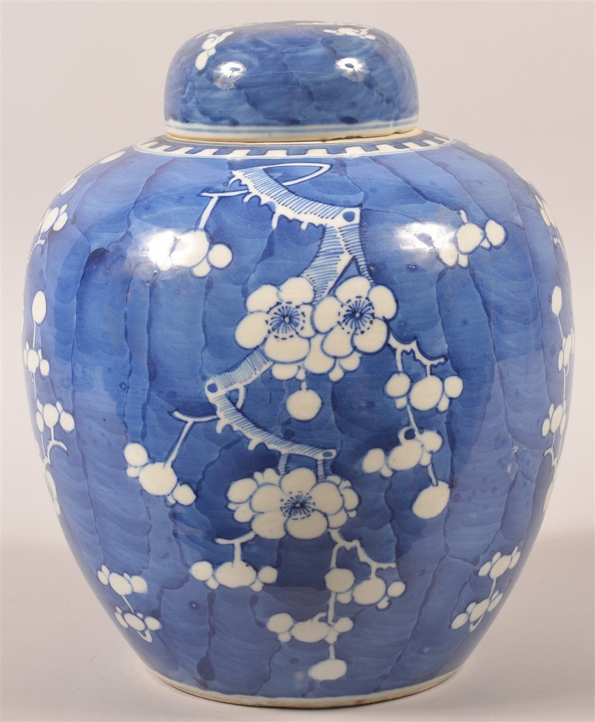 Blue & White Oriental Porcelain Covered Jar. - 2