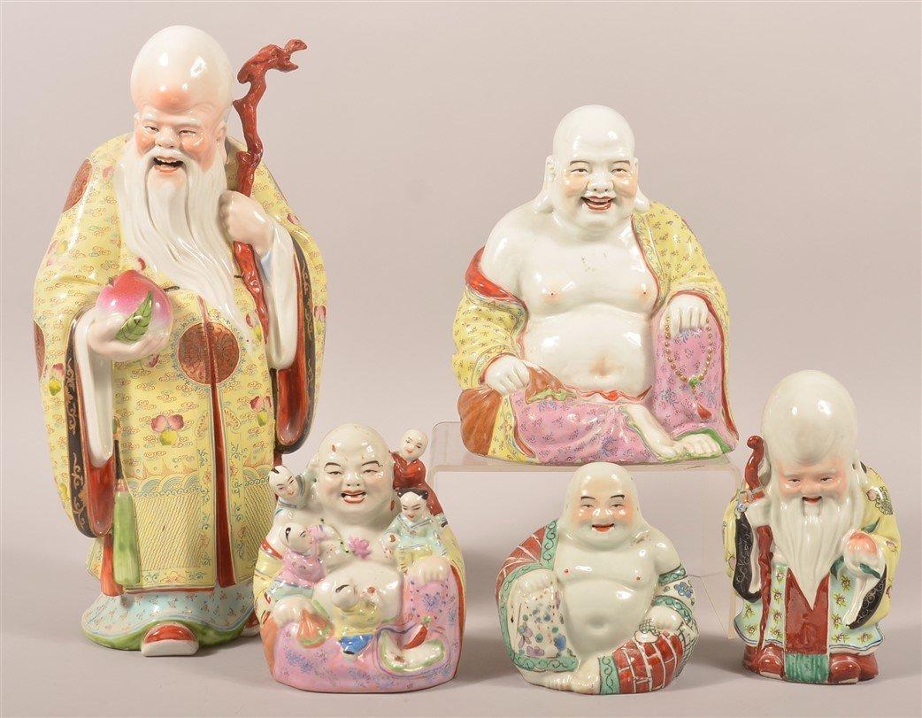 5 Oriental Porcelain Buddha and Elder Figurines.
