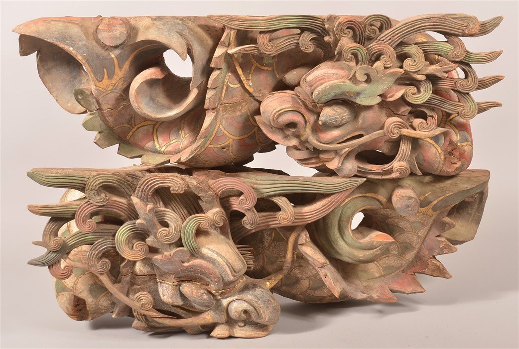 Pair of Dragon Carved Architectural Elements.