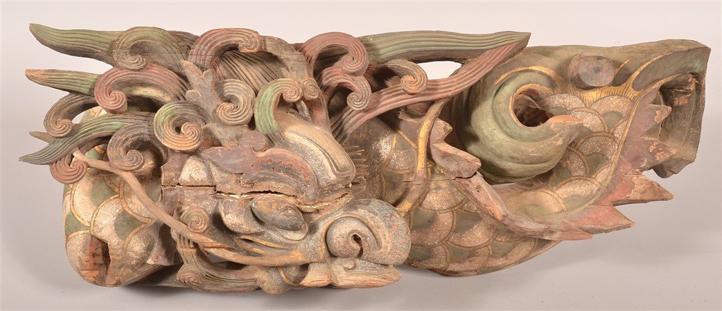 Pair of Dragon Carved Architectural Elements. - 2