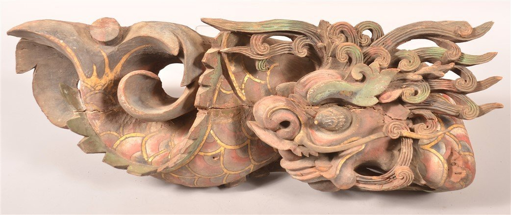 Pair of Dragon Carved Architectural Elements. - 3