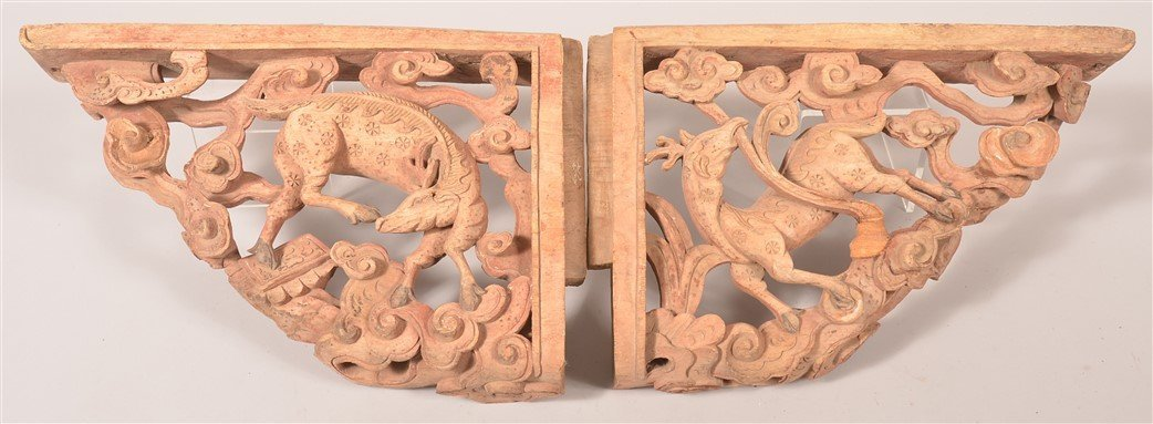 Pair of Carved Deer Form Architectural Elements.