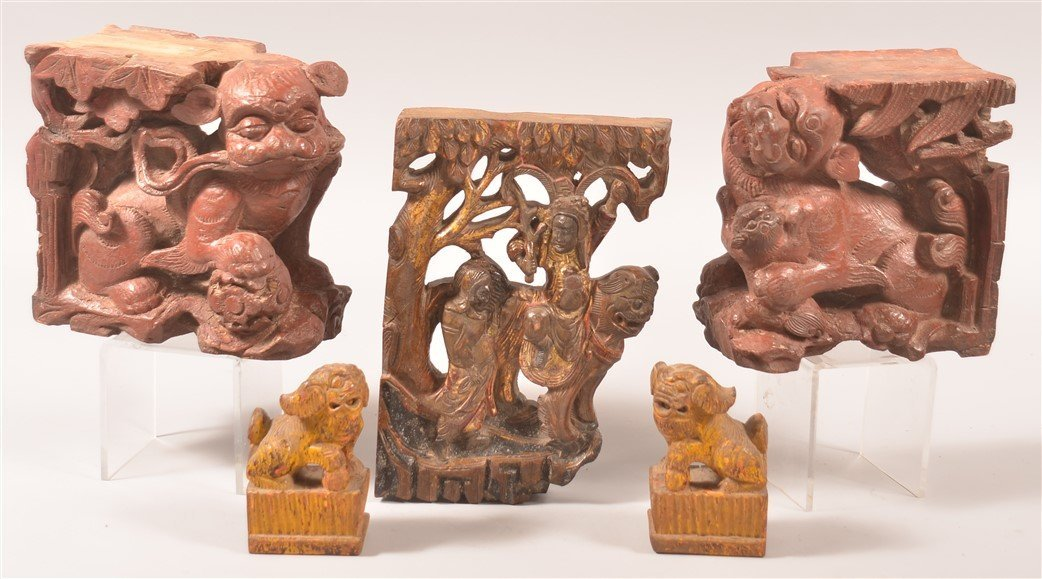 5 Carved Wood Foo Dog Architectural Elements.