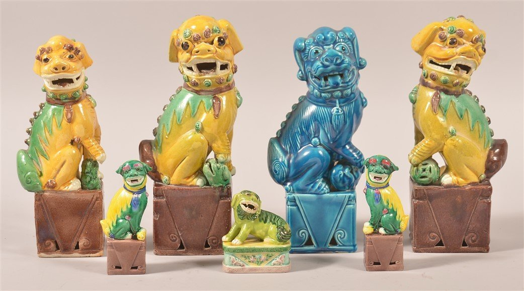 Seven Various Oriental Glazed China Foo Dogs.