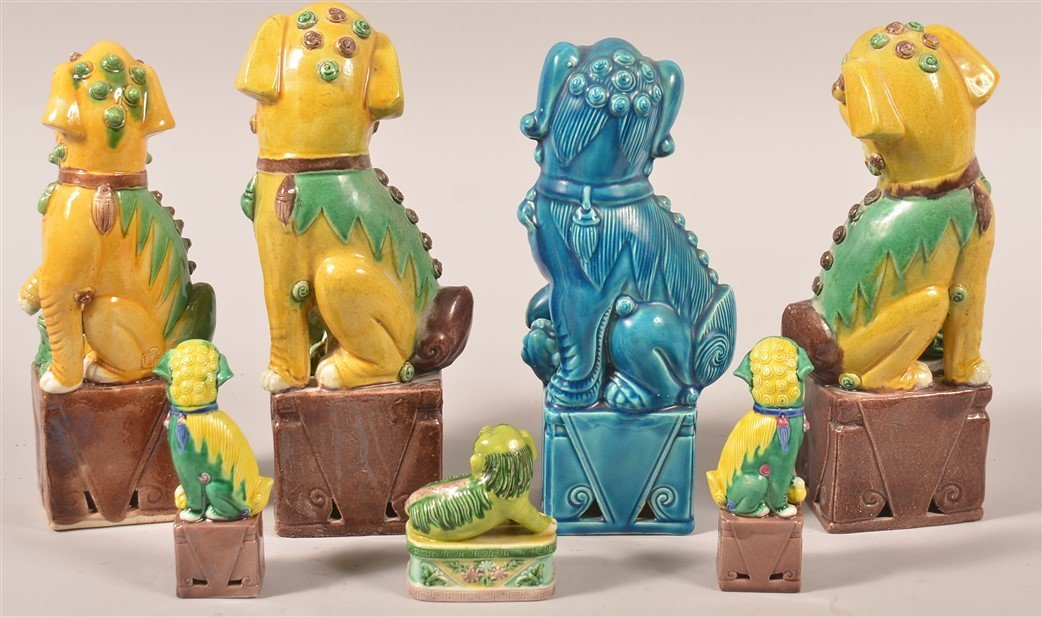 Seven Various Oriental Glazed China Foo Dogs. - 2