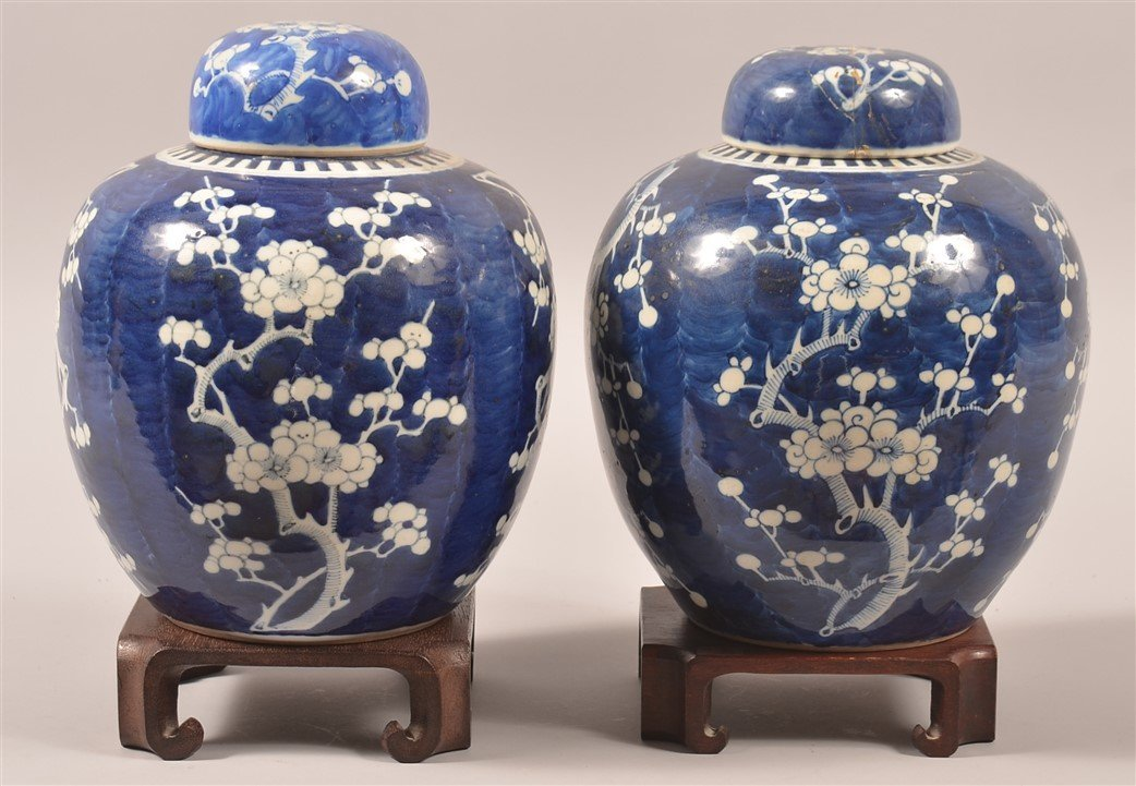 Pair of Blue & White Oriental Porcelain Cov. Jars.