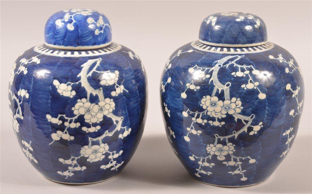 Pair of Blue & White Oriental Porcelain Cov. Jars. - 2