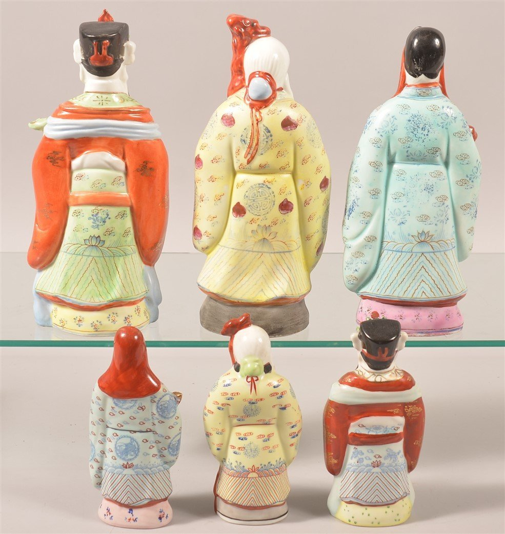 Six Oriental Porcelain Elder Figurines. - 2