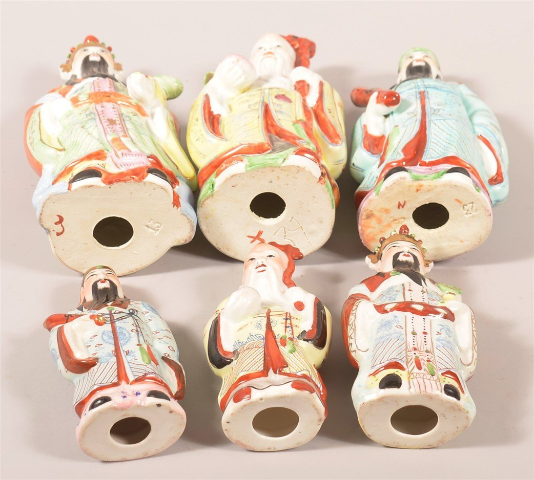 Six Oriental Porcelain Elder Figurines. - 3