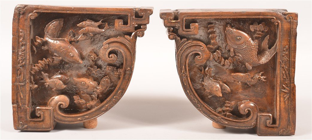 2 Ornately Carved Architectural Corner Elements.