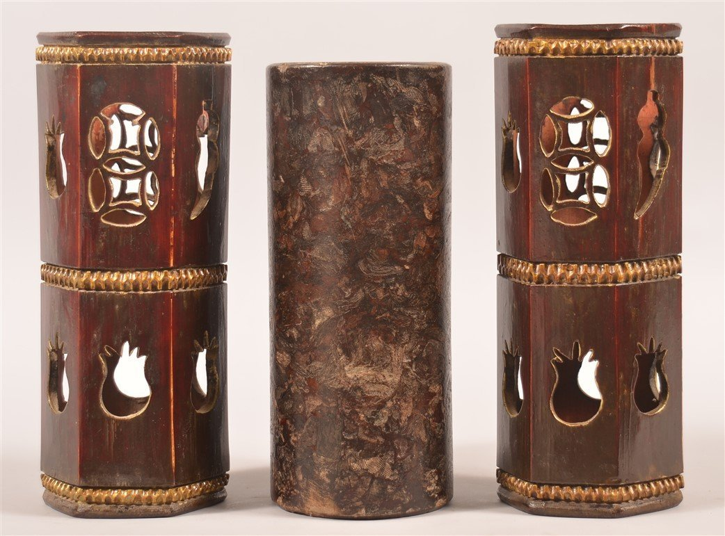 Three Antique Chinese Wooden Hat Stands.
