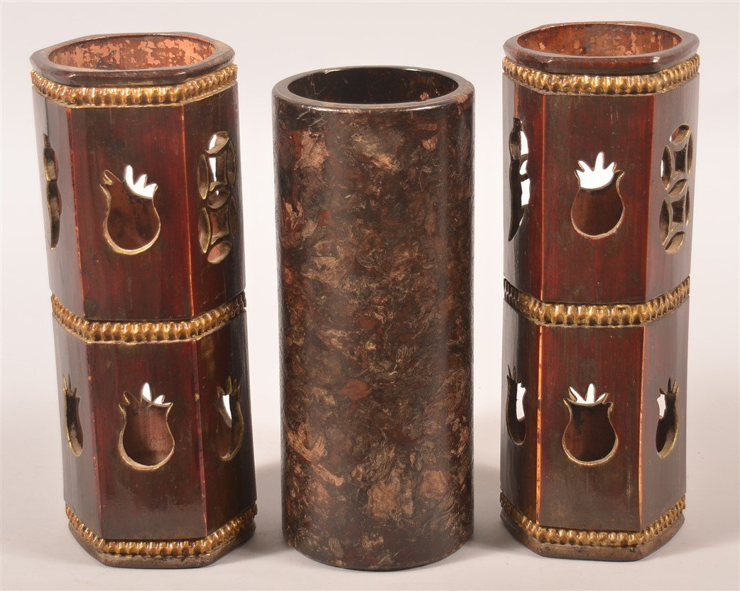 Three Antique Chinese Wooden Hat Stands. - 2