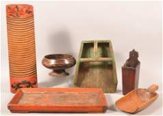 6 Pieces of Chinese Utilitarian Woodeware