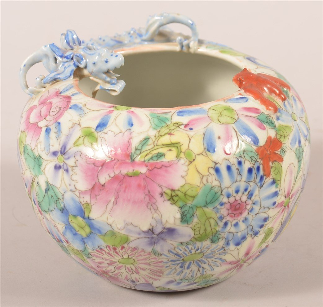 Famille Rose Oriental Porcelain Rose Bowl.