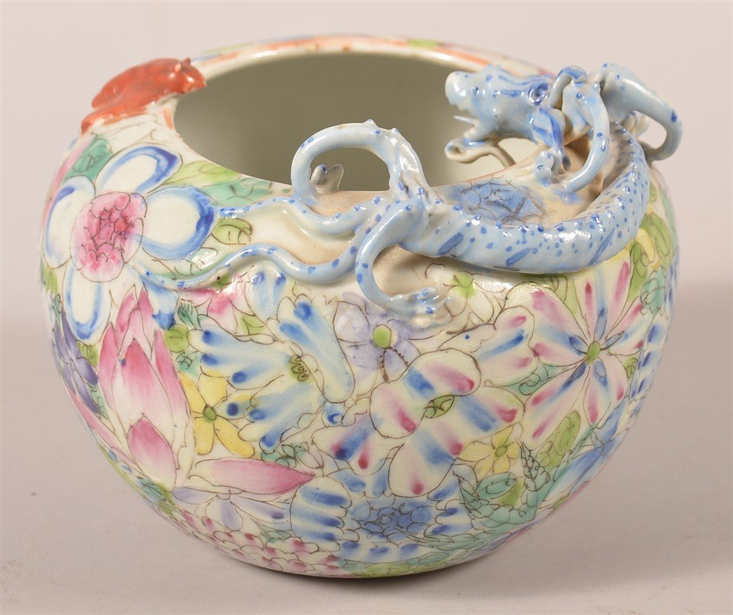 Famille Rose Oriental Porcelain Rose Bowl. - 2