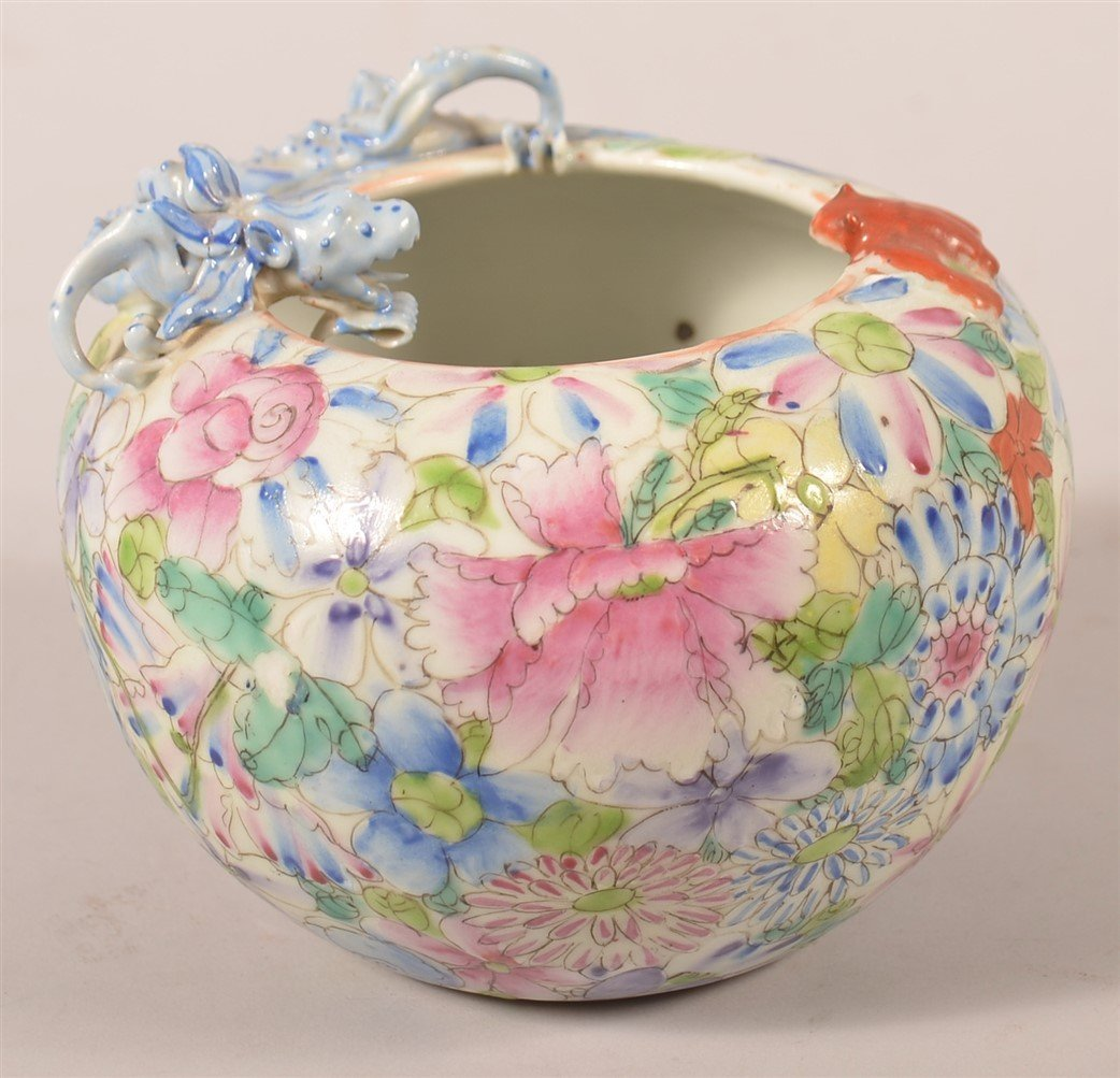 Famille Rose Oriental Porcelain Rose Bowl. - 3