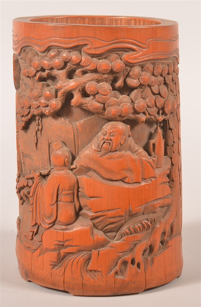 Vintage Chinese Relief Carved Bamboo Brush Pot.