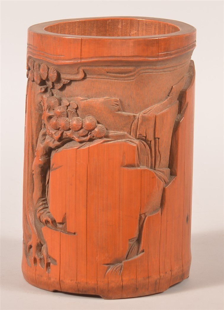 Vintage Chinese Relief Carved Bamboo Brush Pot. - 2