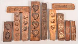 11 Chinese Carved Wood Rice Cake Molds