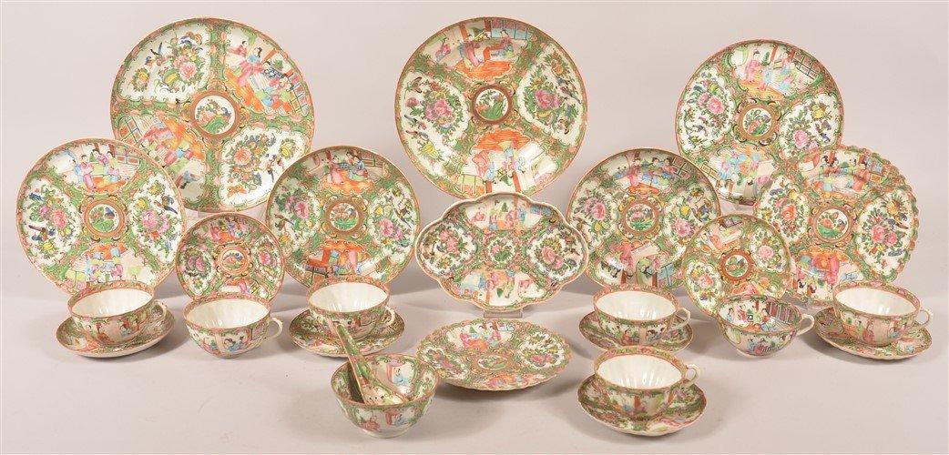 25 pieces of Rose Medallion Oriental Porcelain.