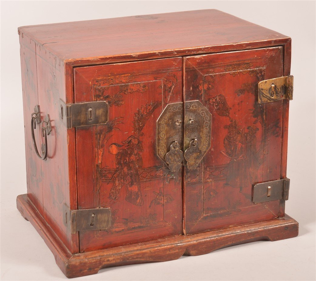 19th Cent. Chinese Red Lacquered Jewelry Box.