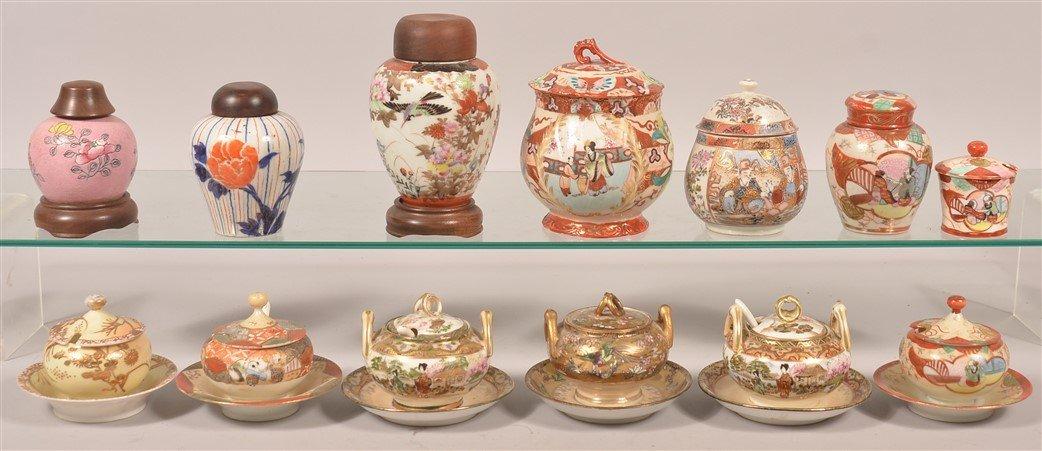 13 Oriental Porcelain Mustard Pots & Cov. Jars.