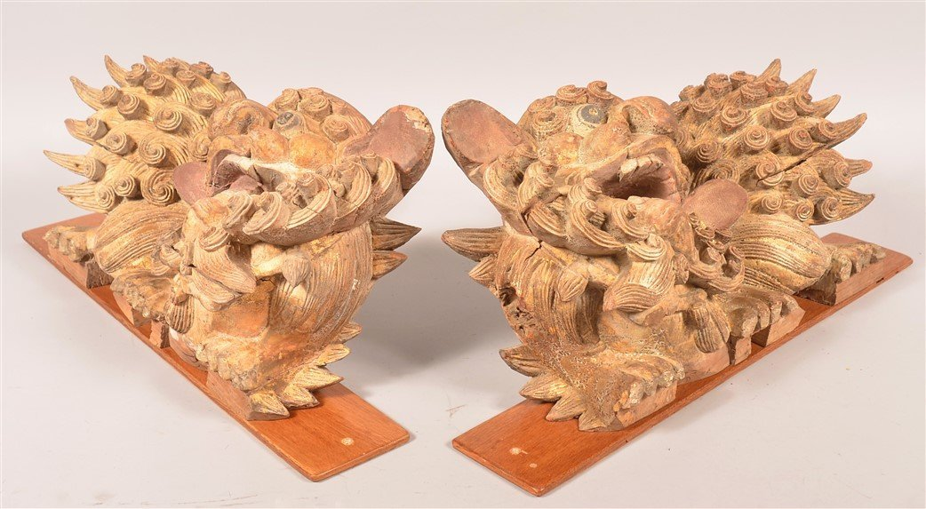 Pair of Gilt Wood Foo Dog Architectural Carvings. - 2