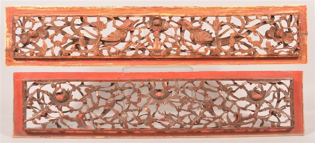 2 19th Cent. Chinese Pierce Carved Wood Panels.