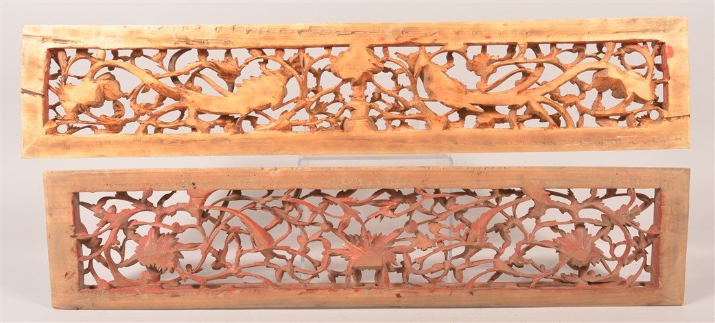 2 19th Cent. Chinese Pierce Carved Wood Panels. - 3