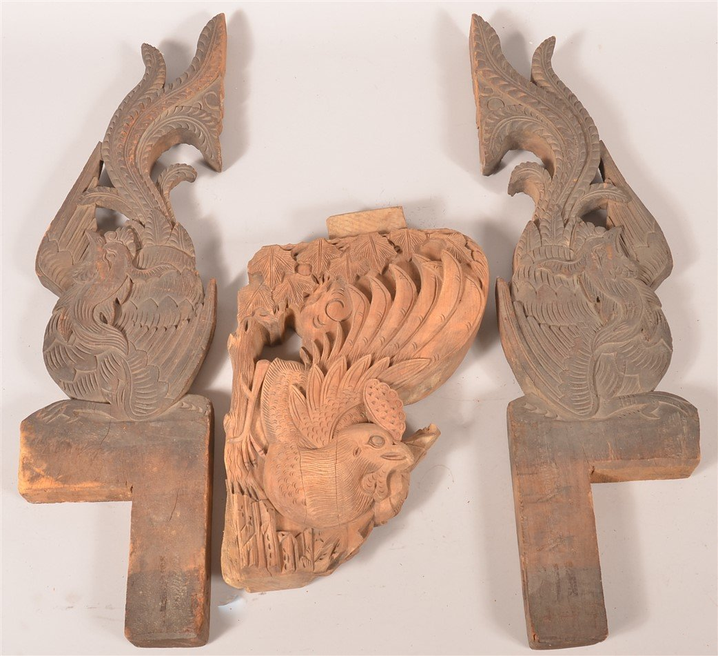 3 Chinese Carved Wood Architectural Elements.