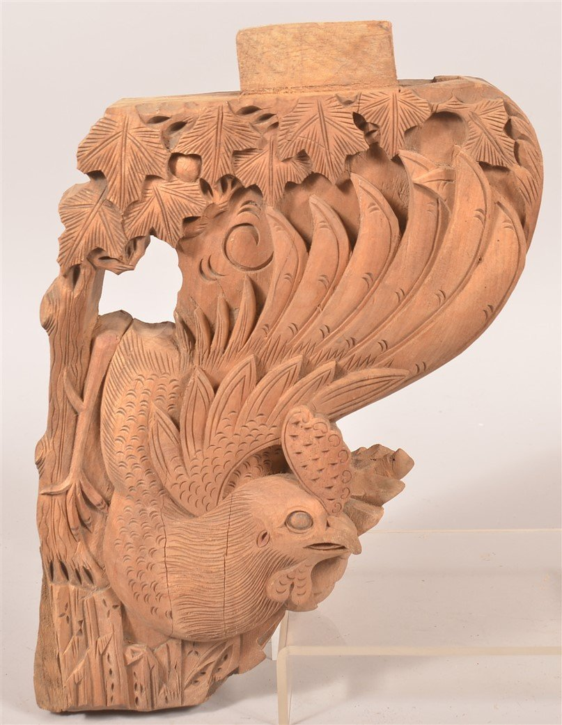 3 Chinese Carved Wood Architectural Elements. - 2