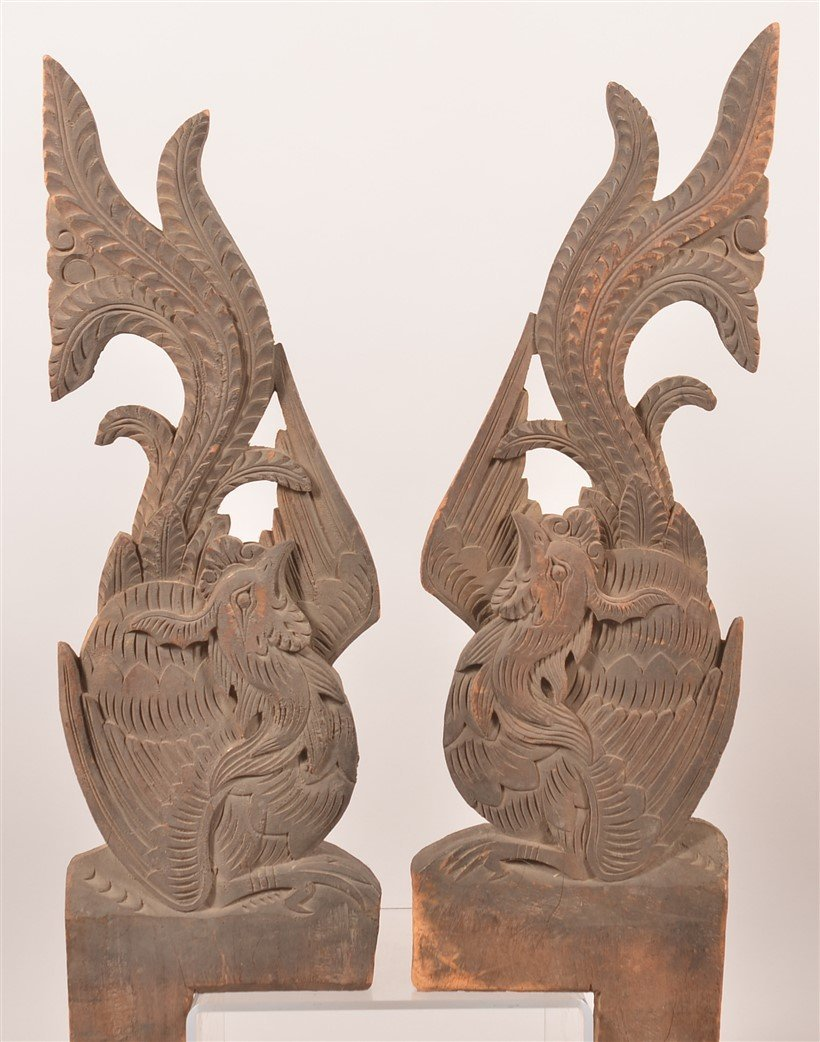 3 Chinese Carved Wood Architectural Elements. - 3