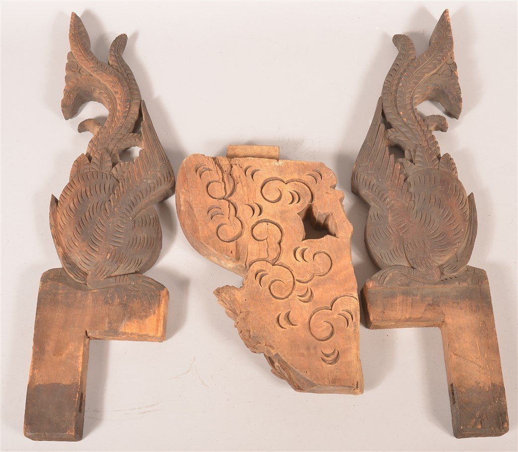 3 Chinese Carved Wood Architectural Elements. - 4