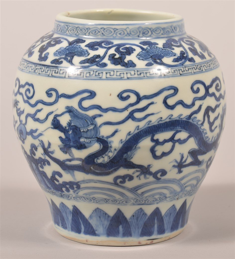Chinese Porcelain Blue and White Dragon Jar.