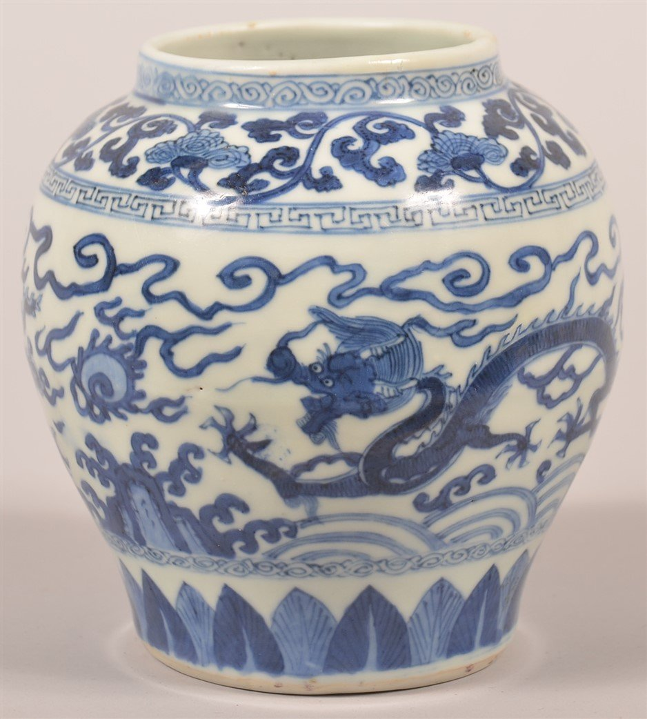 Chinese Porcelain Blue and White Dragon Jar. - 2