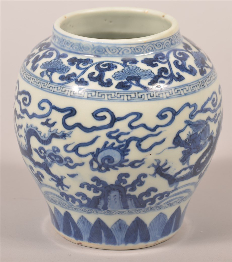 Chinese Porcelain Blue and White Dragon Jar. - 3