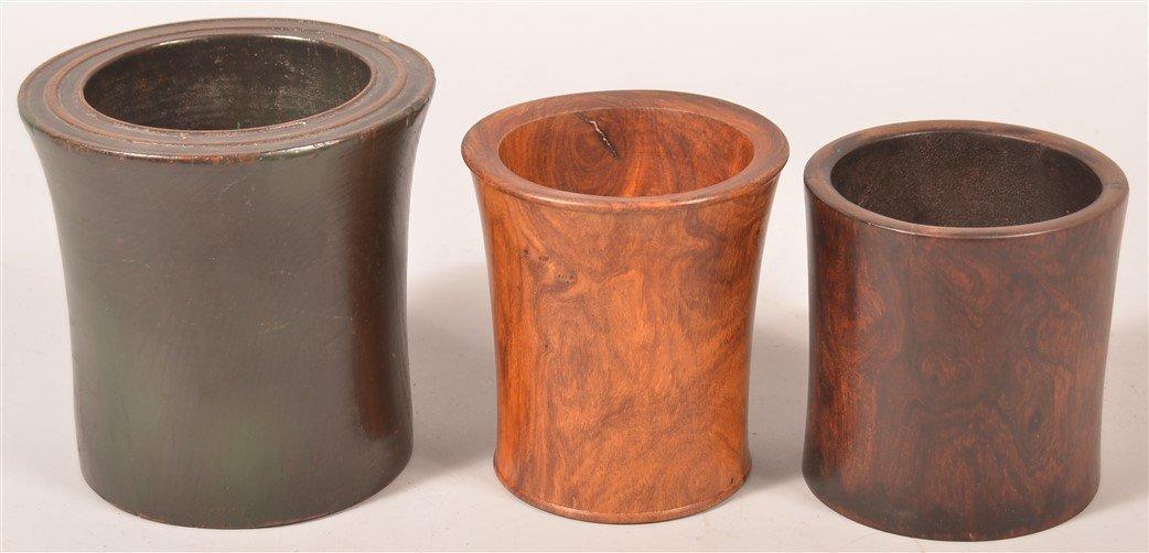 Three Various Chinese Hardwood Brush Pots.