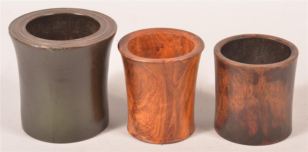Three Various Chinese Hardwood Brush Pots. - 2