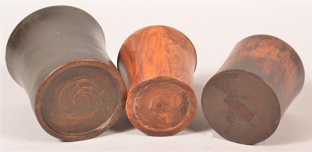 Three Various Chinese Hardwood Brush Pots. - 3