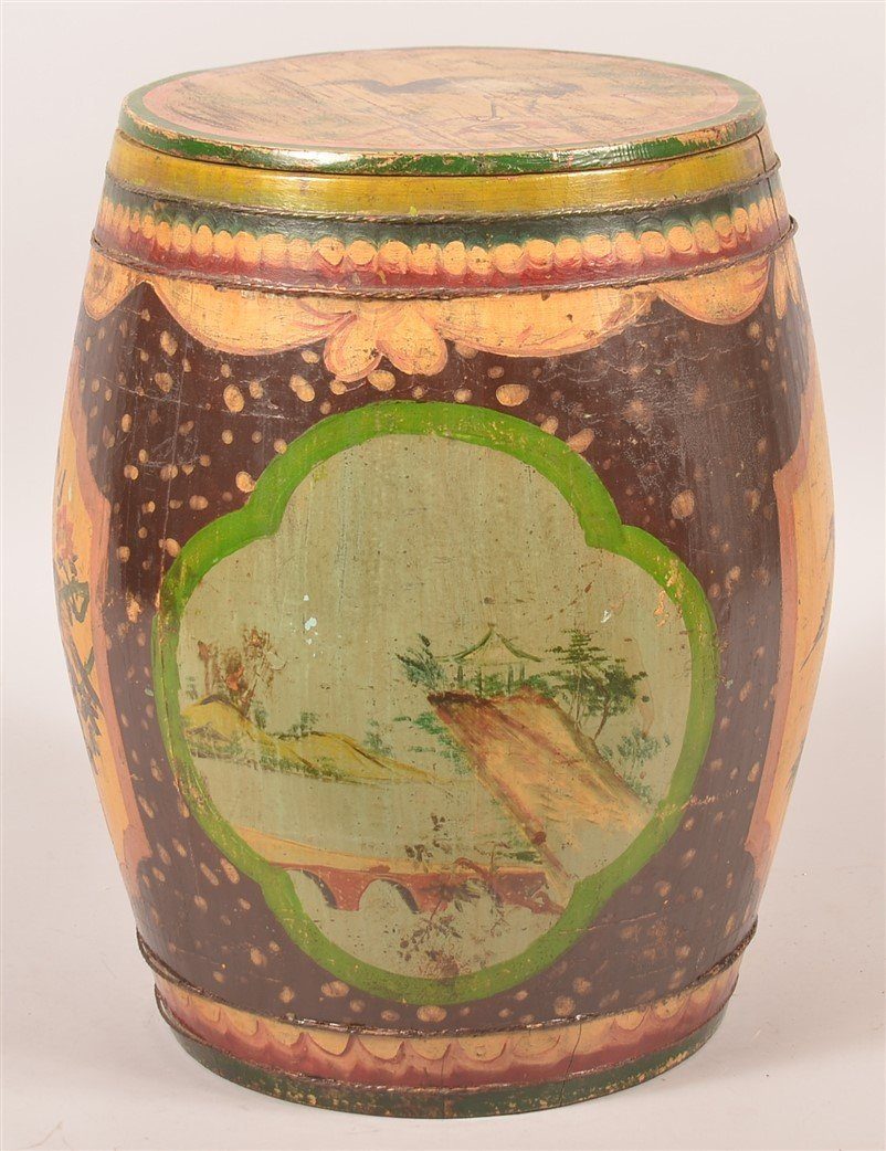 Chinese Paint Decorated Wood Tea Canister.