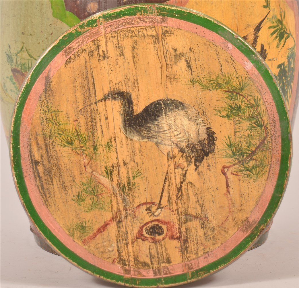 Chinese Paint Decorated Wood Tea Canister. - 2