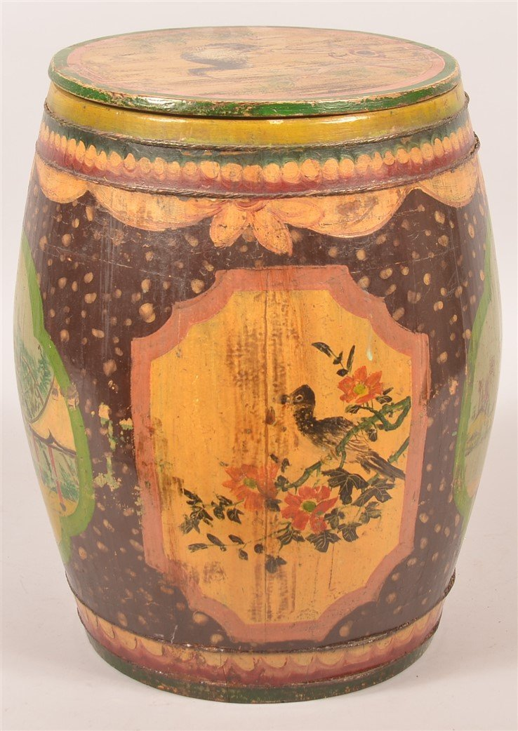 Chinese Paint Decorated Wood Tea Canister. - 3