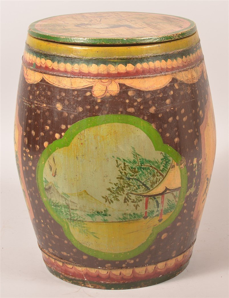Chinese Paint Decorated Wood Tea Canister. - 4